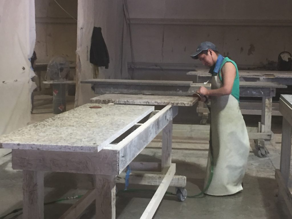 Fabrication process for custom kitchen countertops by same contractor