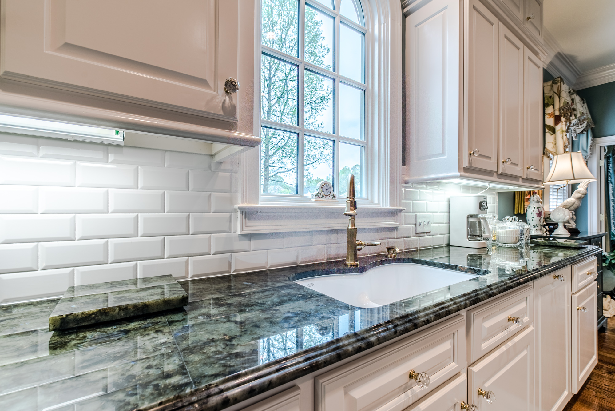 Subway tile backsplash with white subway tiles at East Coast Granite