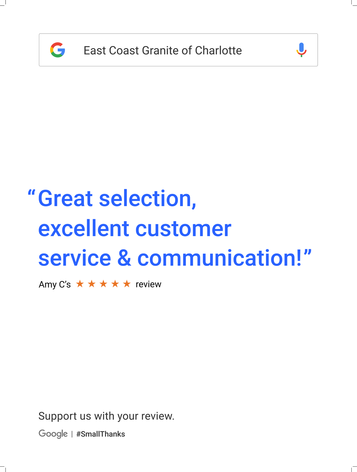 Google Review Charlotte from Amy C - Great selection excellent customer service & communication