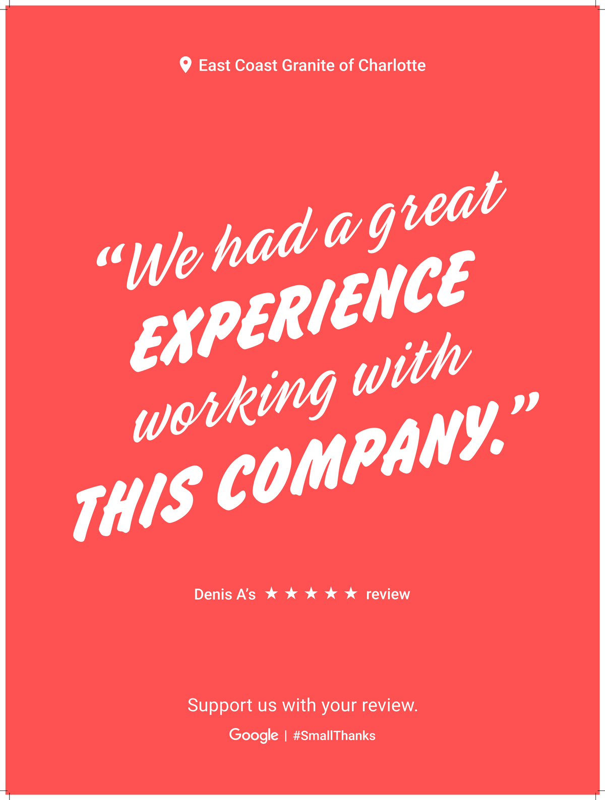 Google Review Charlotte from Denis A - We had a great experience working with this company