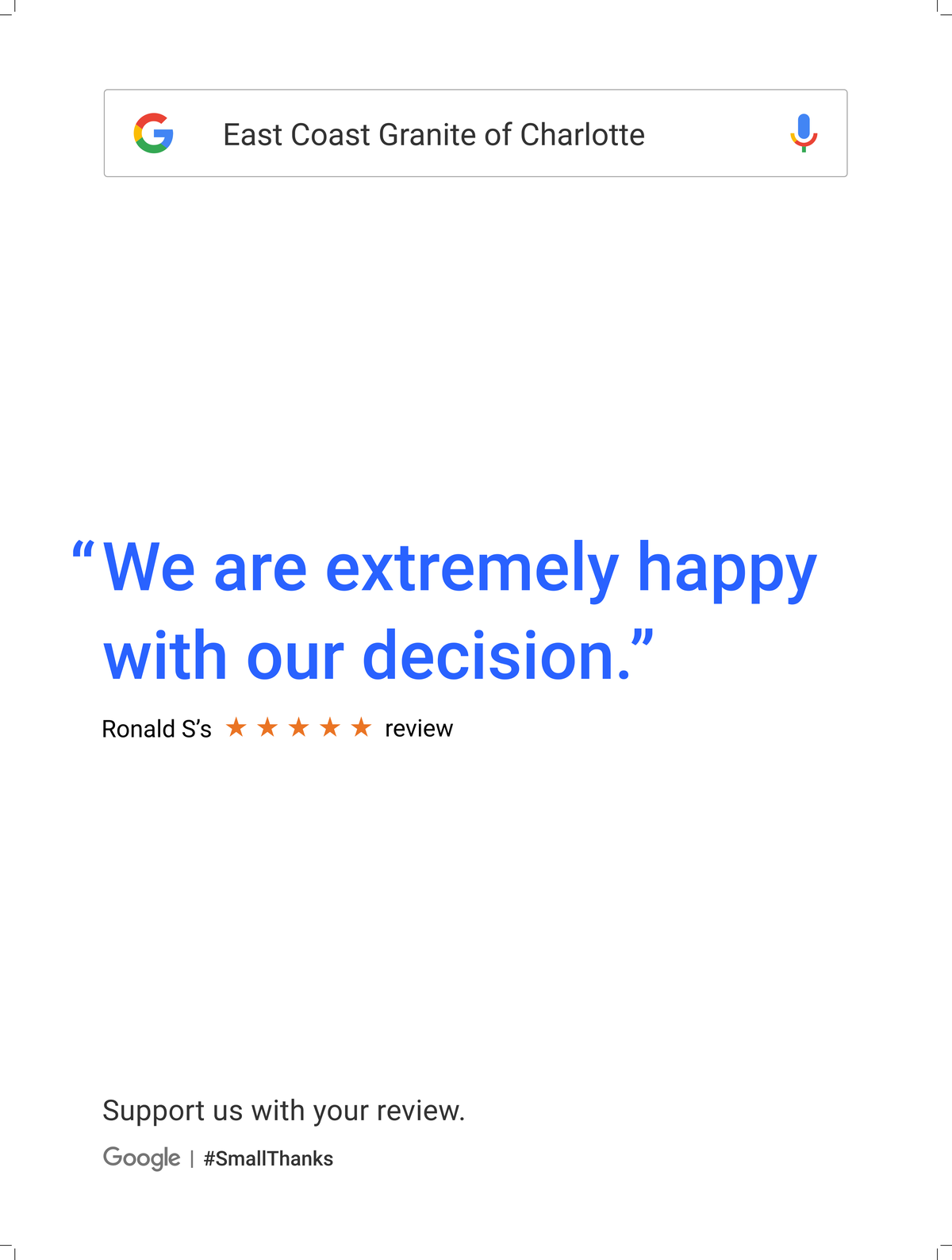 Google Review Charlotte from Ronald S - We are extremely happy with our decision
