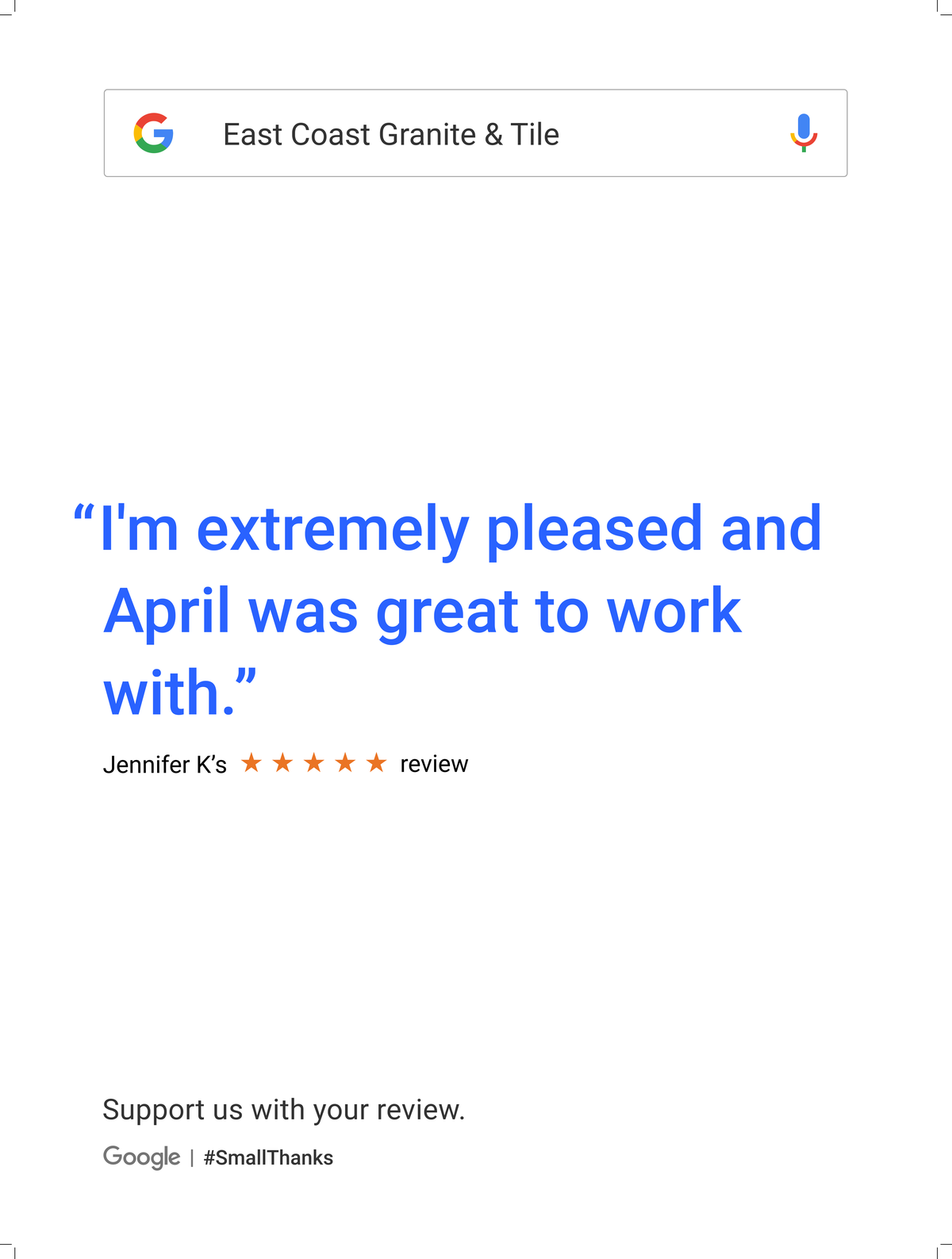 Google Review Greenville from Jennifer K - I am extremely pleased and April was great to work with