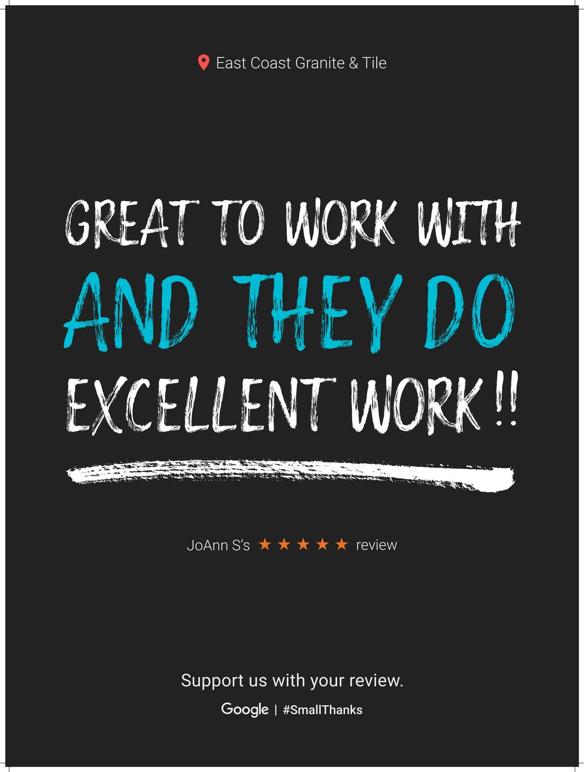 Google Review Greenville from Joann S. - Great to work with and they do Excellent Work!