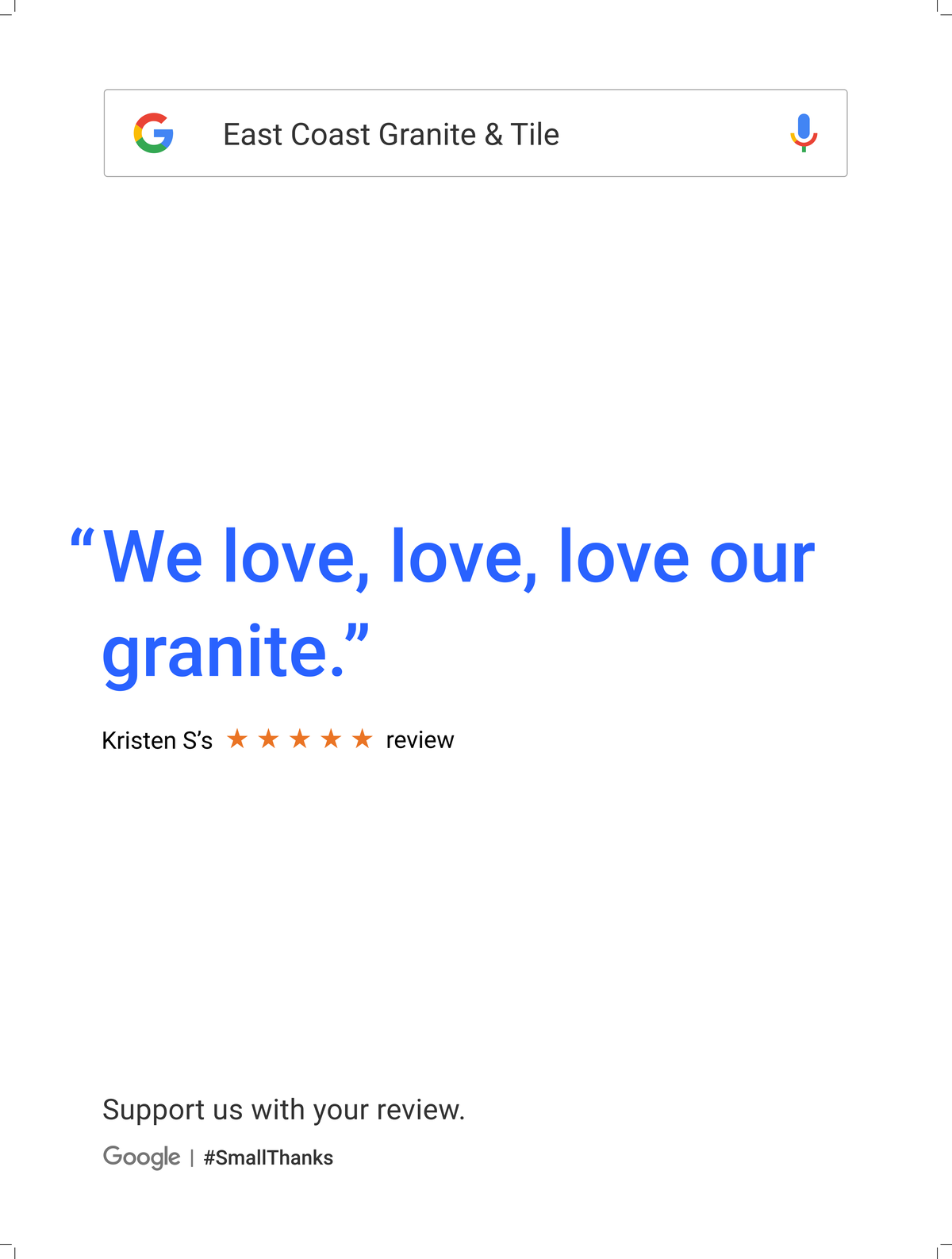 Google Review Greenville from Kristen S - We love, love, love our granite