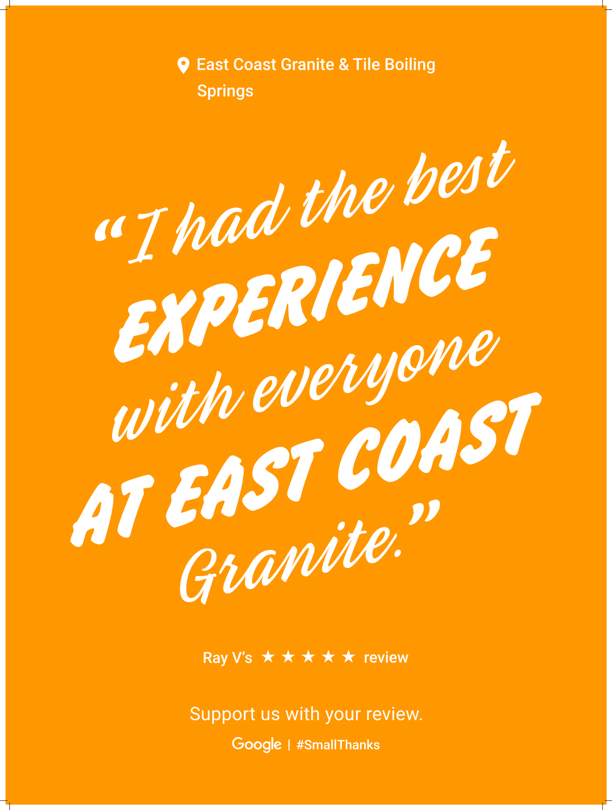 Google Review Greenville from Ray V - I had the best experiance with everyone at East Coast Granite