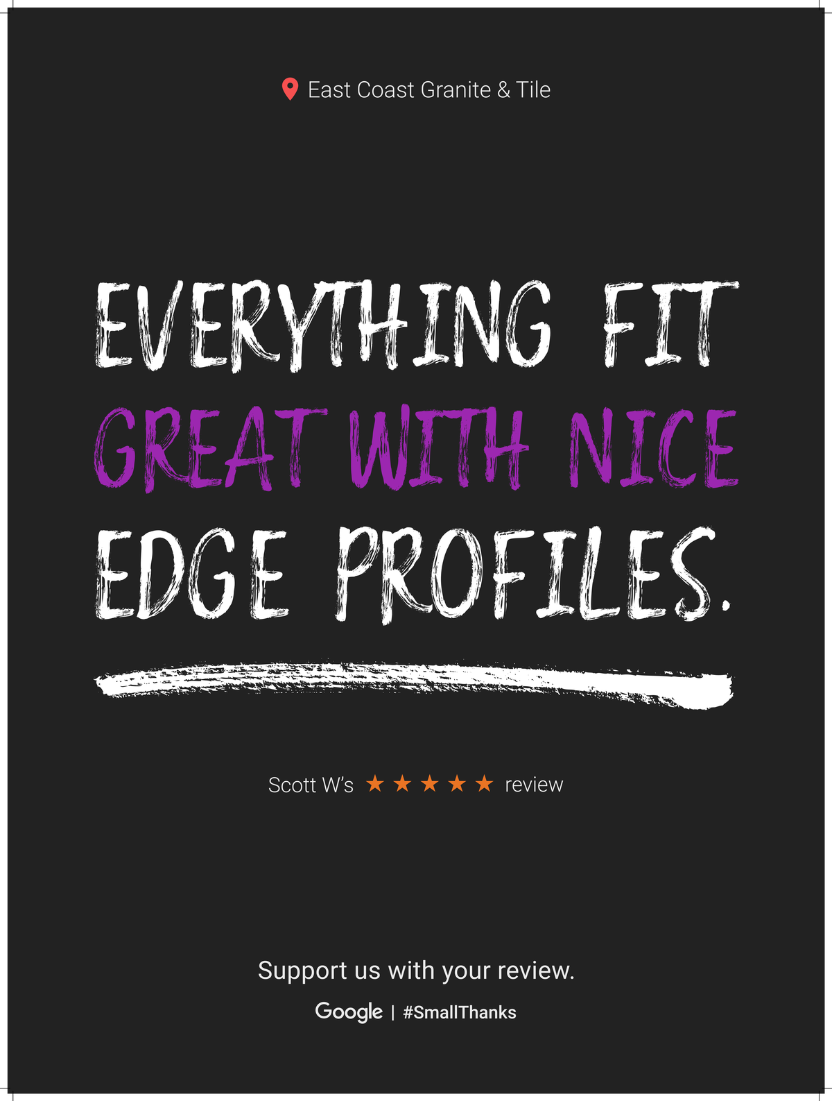 Google Review Greenville from Scott W - Everything fit great with nice edge profiles