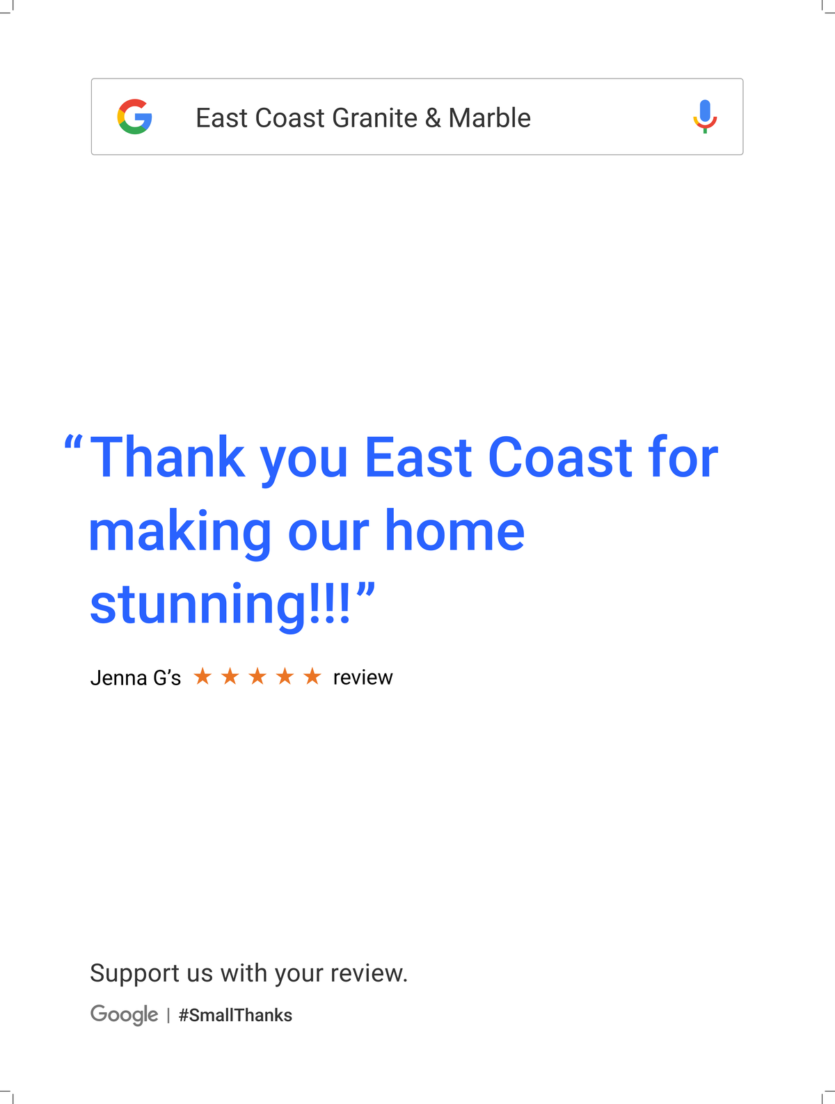 Google Review Raleigh from Jenna G - Thank you East Coast for making our home stunning!!!