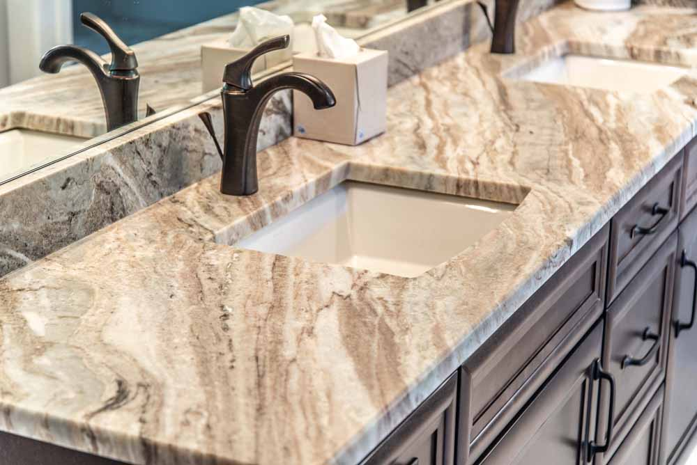 Leathered Fantasy Brown Marble Vanity Top