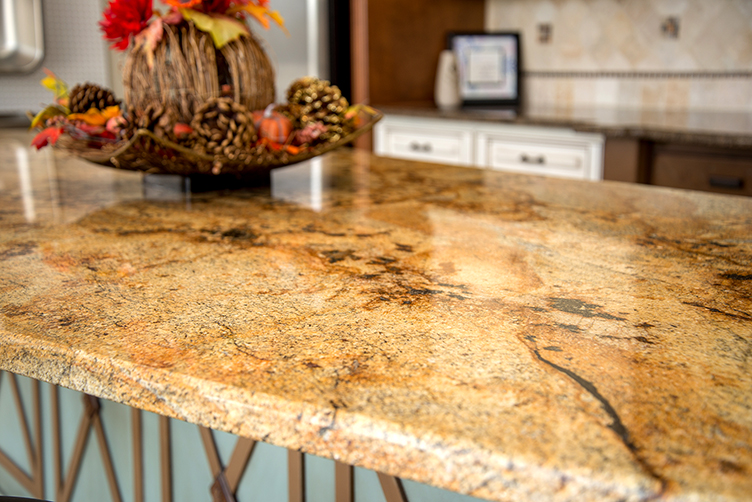 Granite topped kitchen island with Tiffany Blue cabinet base