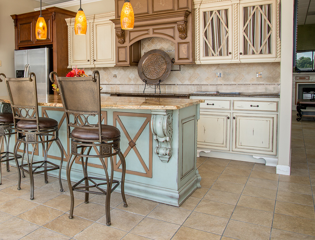 Spacious Kitchen Island Natural Color Granite and Tiffany Blue Rustic Base Cabinets