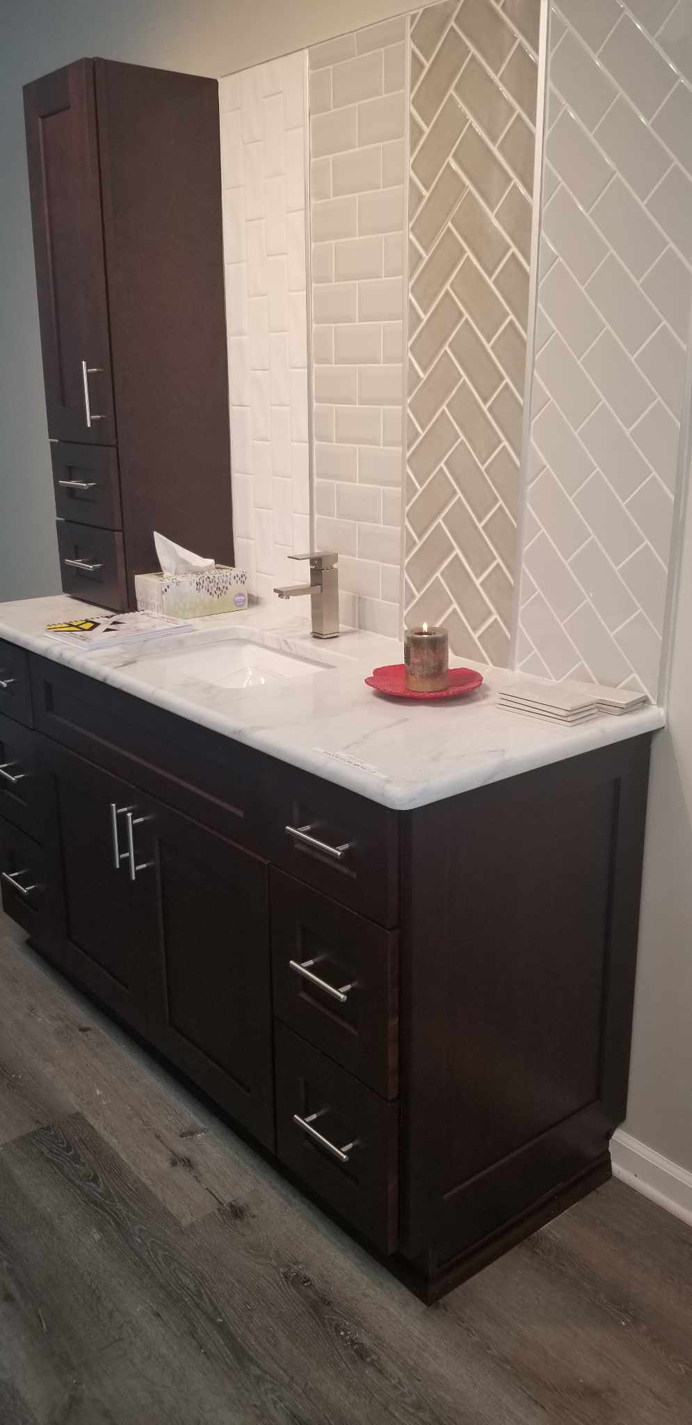 We offer a wide variety of tile for kitchen backsplashes and bathroom uses.