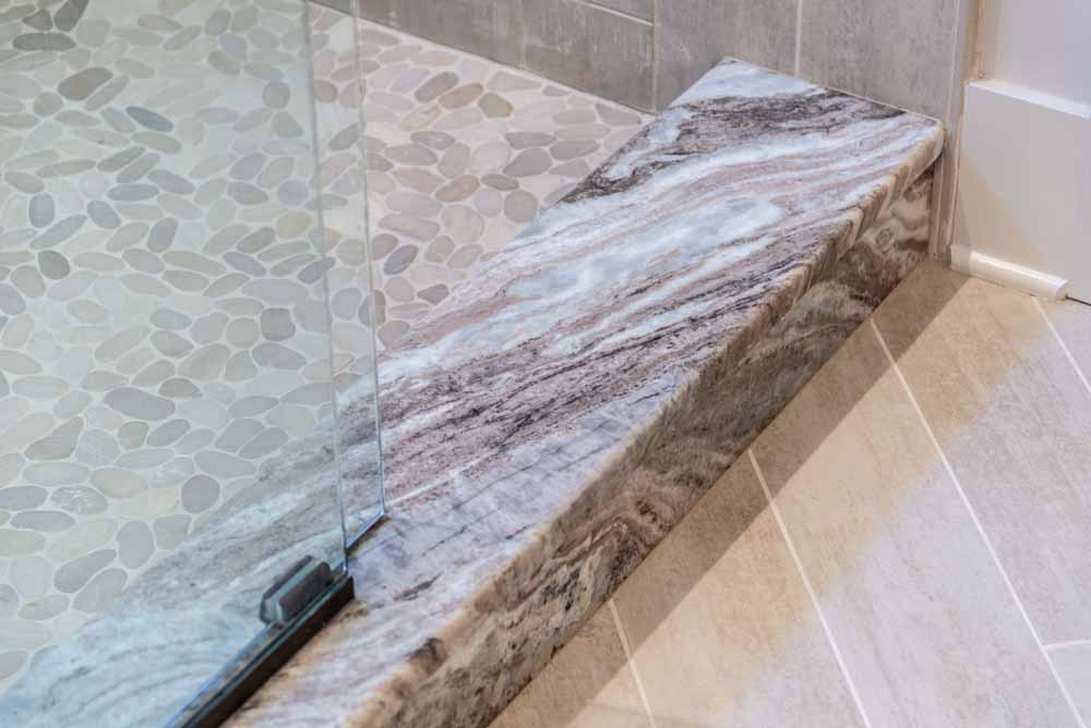 Leathered Fantasy Brown Marble Shower Base