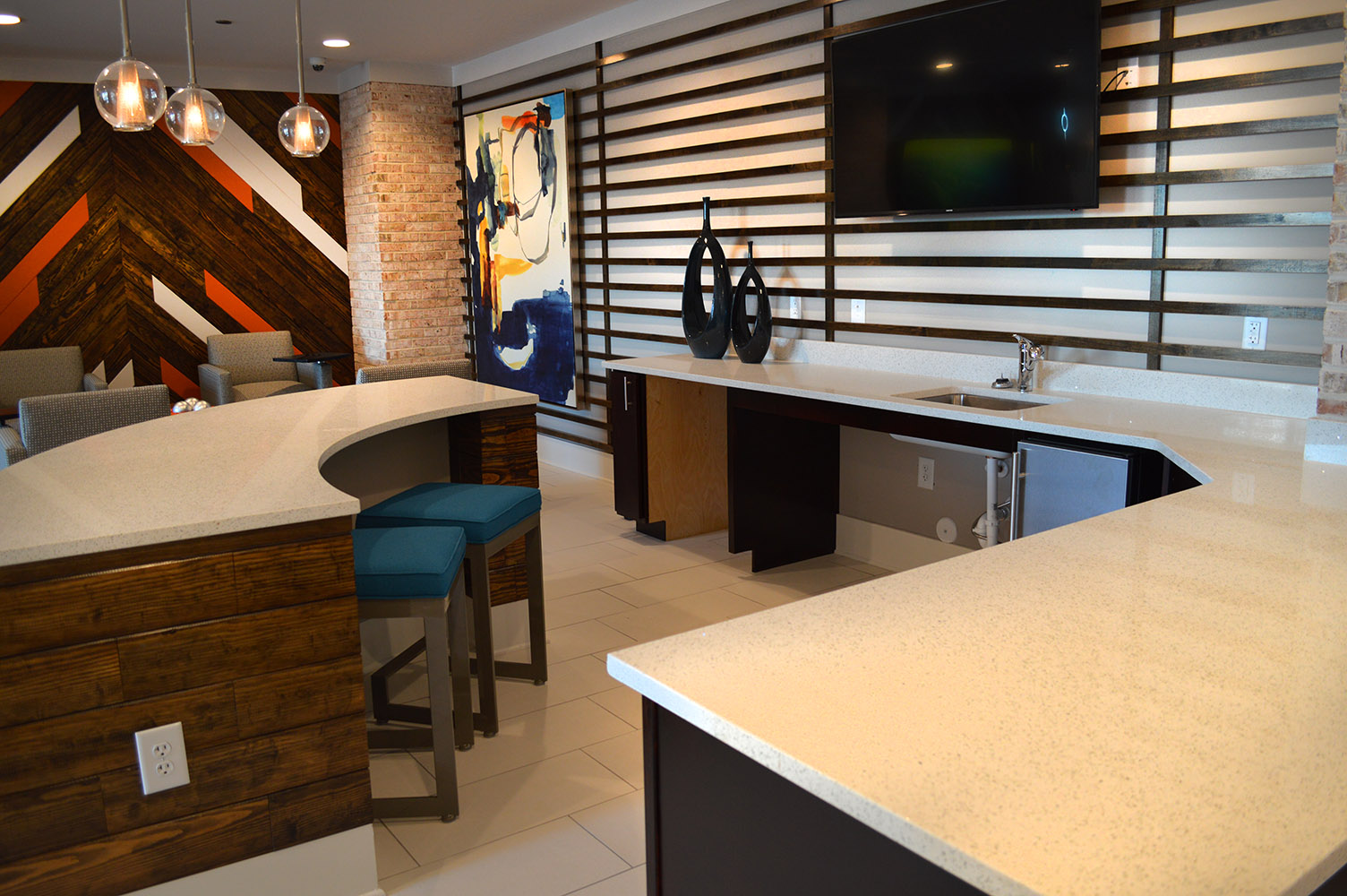 Link Apartment's (Greenville, SC) Commons Area Countertops made with White Lace Quartz