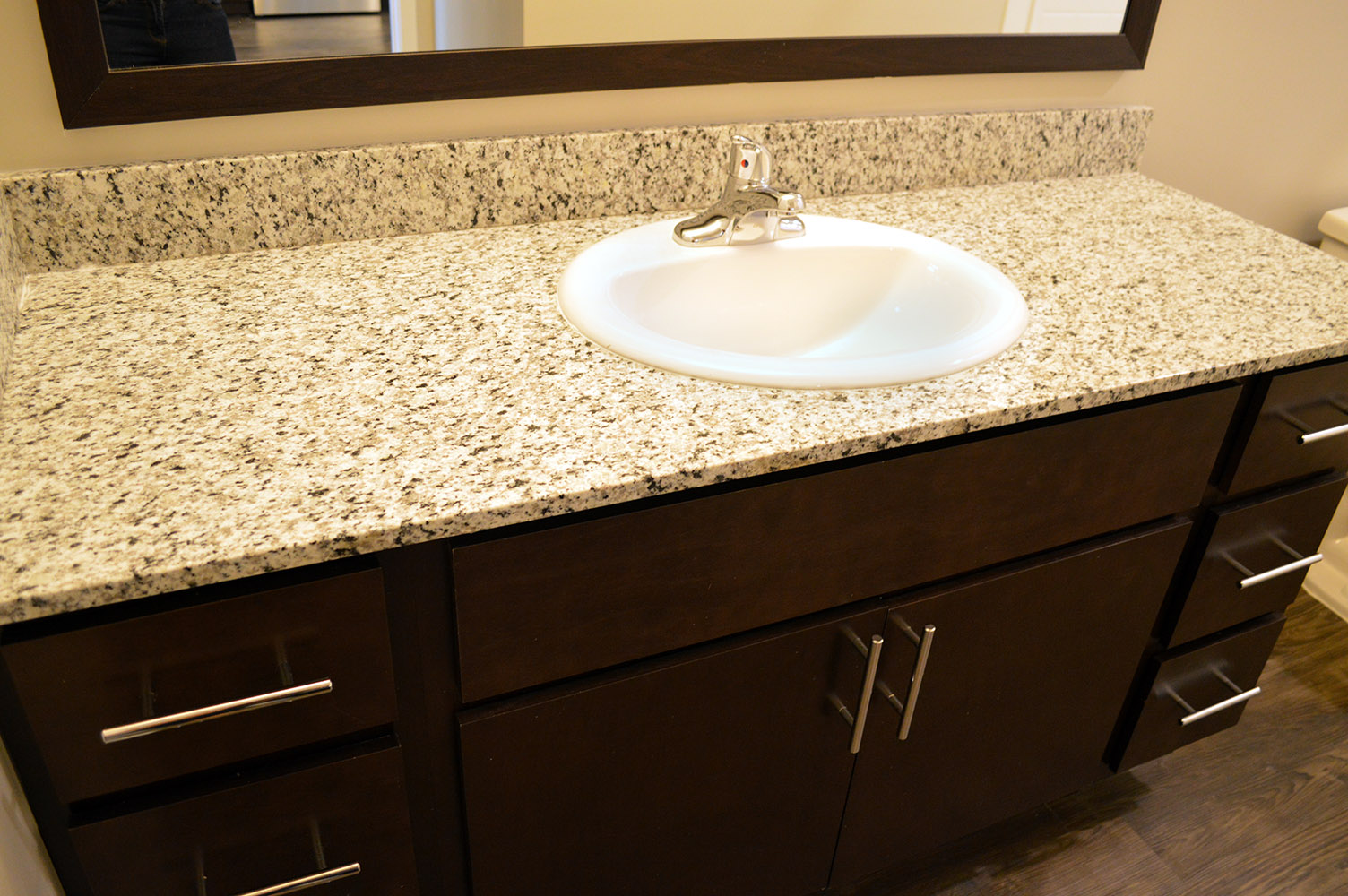 Main & Stone apartments (Greenville, SC) brought the luxurious granite countertops in their kitchens to the bathroom vanities and this really ties the surfaces in the apartments together
