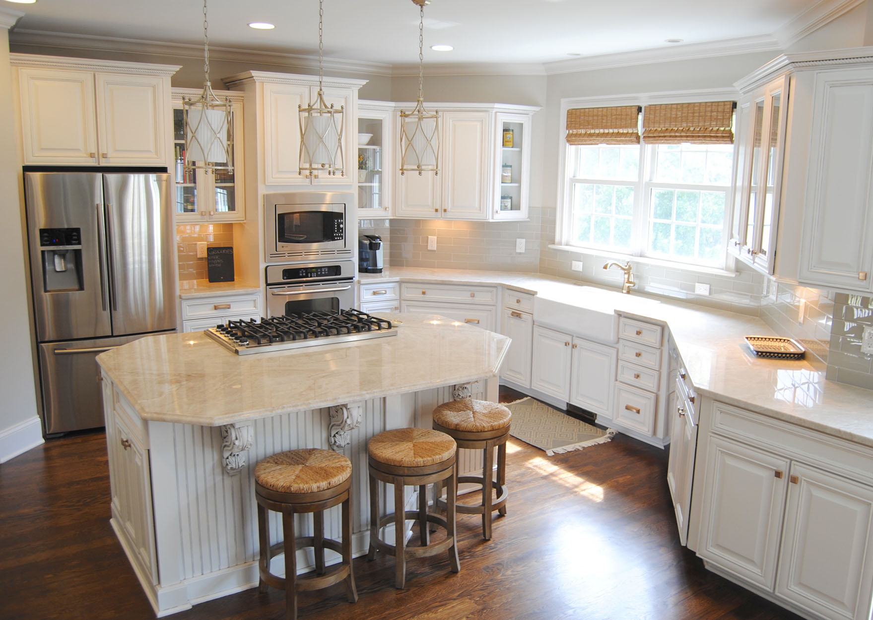 Beautiful White Kitchen With Taj Mahal Quartzite Kitchen Countertops
