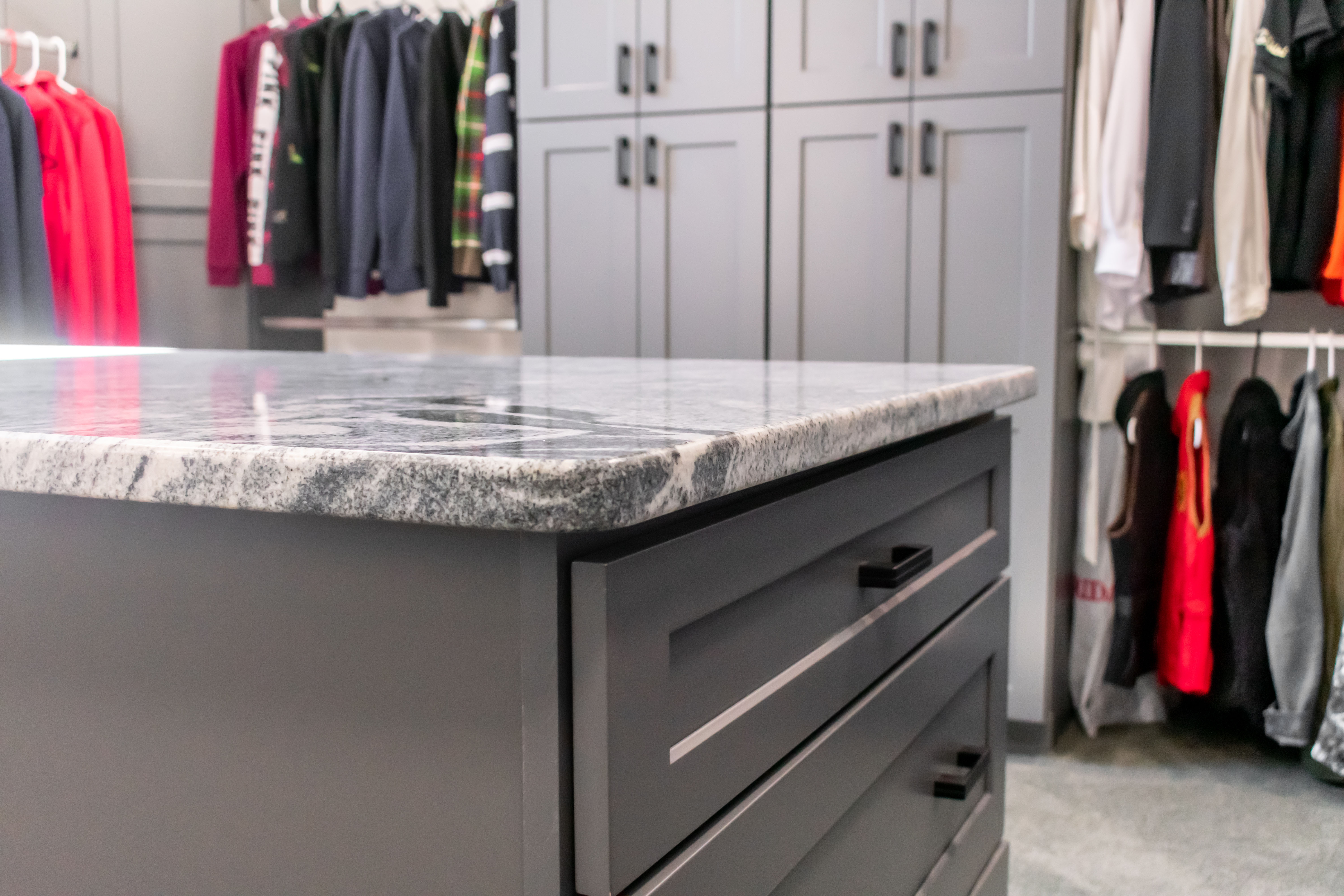 The perfect soft eased edge on this beautiful Viscon White granite closet island countertop